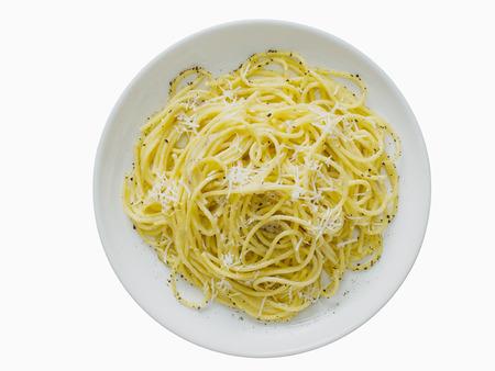 pepe: close up of italian pepe e cacio pepper with cheese spaghetti isolated