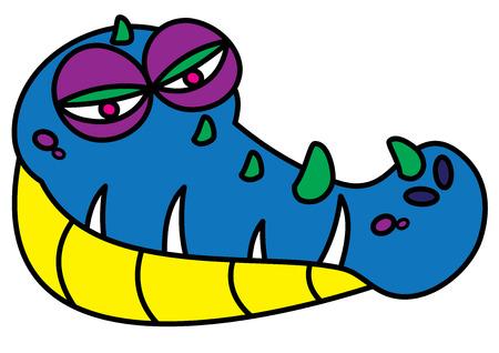 blooded: ugly alligator monster vector illustration