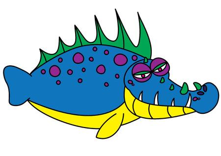 blooded: ugly fish monster vector illustration