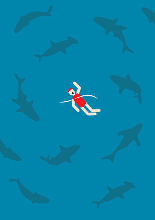 dangerous work: swimming with sharks vector illustration
