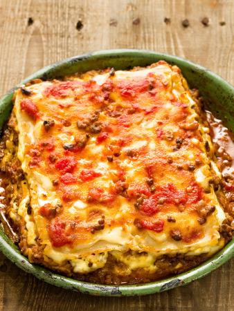 cheesy: close up of rustic italian cheesy lasagna pasta