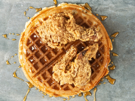 rustic food: close up of rustic southern american comfort food chicken waffle Stock Photo