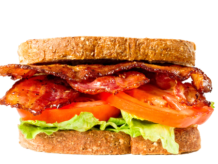 close up of juicy bacon lettuce and tomato sandwich