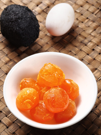 close up of rustic  chinese golden salted egg yolk Standard-Bild