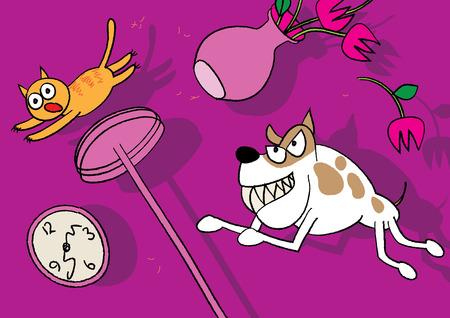 instinct: cat and dog pet fight illustration