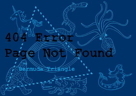 disappearance: 404 error service down unavailable bermuda concept illustration