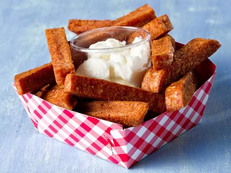 comfort food: close up of rustic comfort food snack spam fries