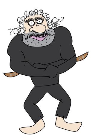 lunatic: mad man in a straitjacket vector illustration
