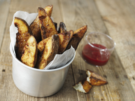 close up of rustic english potato chips Stock Photo