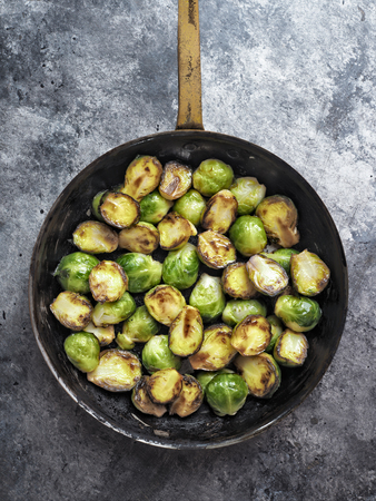 close up of rustic crispy fried brussels sprouts Stock Photo