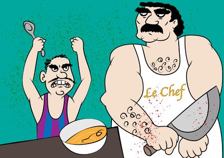 Funny poor foid hygiene cartoon vector illustration.