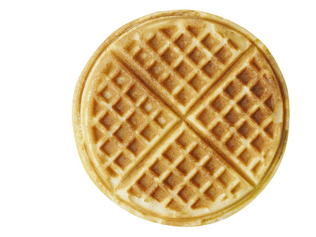 close up of plain belgium american waffles isolated