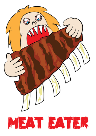 man eater: meat eater lover carnivore funny cartoon vector illustration
