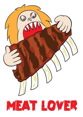 man eater: Meat eater lover carnivore funny cartoon vector illustration Illustration