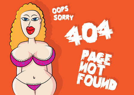 sexy lingerie model 404 page not found error vector illustration Illustration