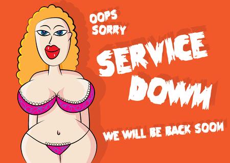 funny sexy lingerie model service down error vector illustration