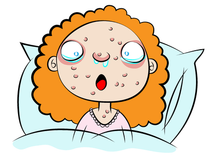 sad little girl: cute girl sick in bed vector illustration