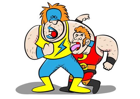 Funny wrestling characters vector illustration. Illustration