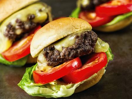 close up of rustic american slider sandwich mini hamburger Фото со стока