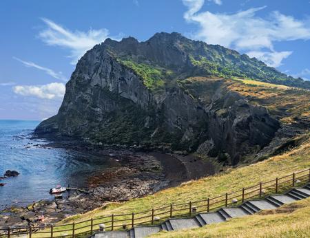 seongsan ilchulbong volcanic crater landscape scenery in jeju south korea Standard-Bild