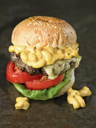 close up of rustic american mac and cheese hamburger