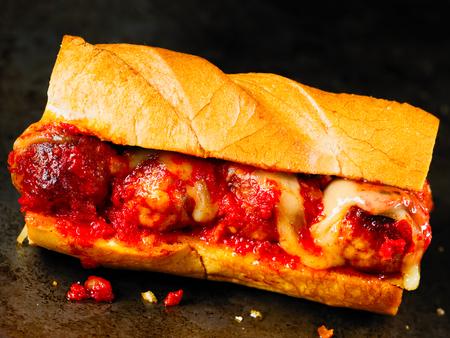 close up of rustic american italian meatball sandwich