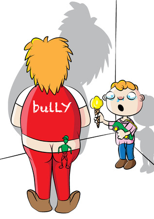 School bully and victim vector illustration. Illustration