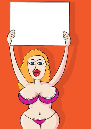 sexy announcement message bikini girl vector illustration
