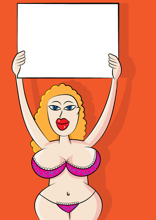 sexy announcement message bikini girl vector illustration