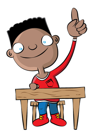 cute black school boy raise hand in class vector illustration