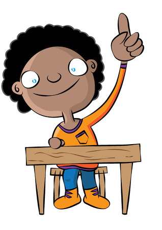 Cute black school girl raise hand in class vector illustration Ilustração