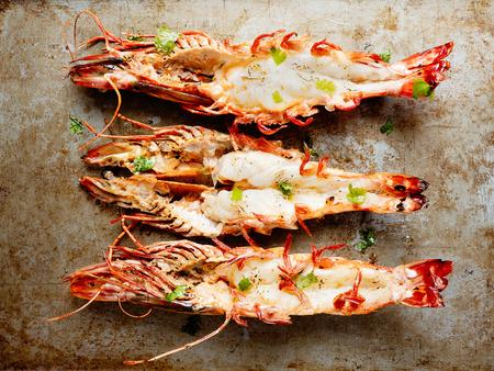close up of rustic grilled jumbo prawn