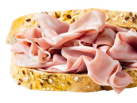 close up of italian mortadella sandwich white background Stock Photo