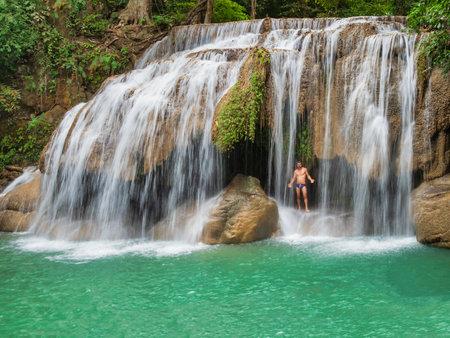 Bangkok, Thailand, 31st December 2018, Seven tiers of waterfalls at Erawan National Park. Erawan Waterfall is recognised as one of the most beautiful waterfalls in Thailand. Redactioneel