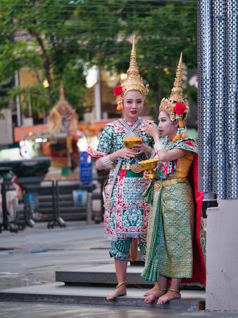 Bangkok, Thailand, 29th December 2018, Thai traditional dance and dramatic arts.Traditional dancers in spectacular costumes.