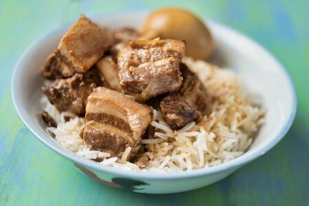 close up of braised pork belly rice bowl comfort food Reklamní fotografie - 129559876