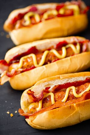 close up of american fast food hot dog