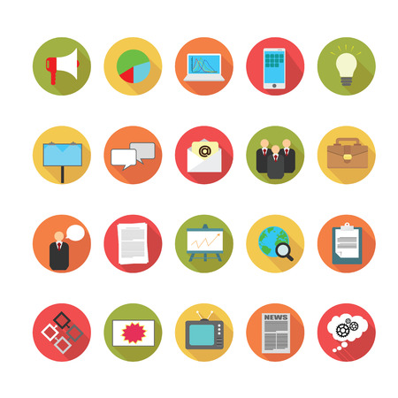 mobile advertising: Media and Advertising icons set.