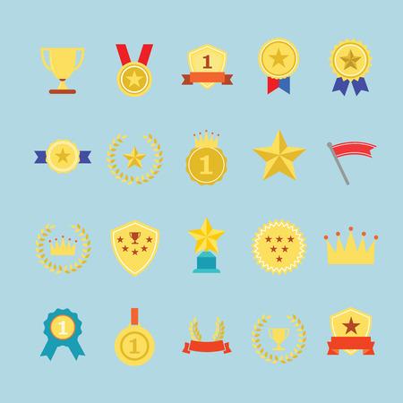 Award icons set. Illustration