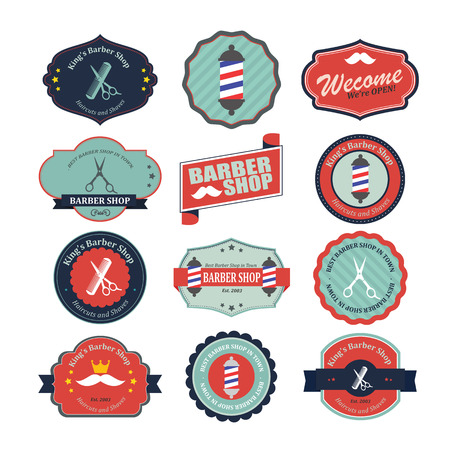Set of vintage barber shop graphics and icons. Vector
