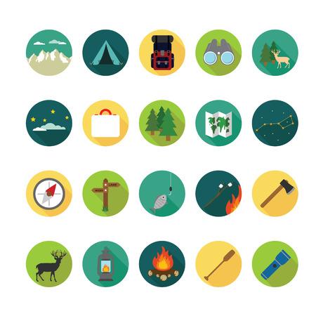 Camping icone set. Archivio Fotografico - 33068518