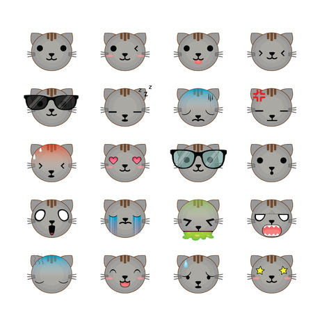 Cat smiley faces icon set. Vector