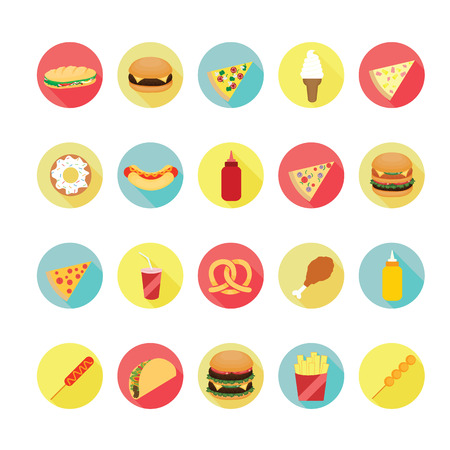 chinese takeout box: Fast food icons set.  Illustration