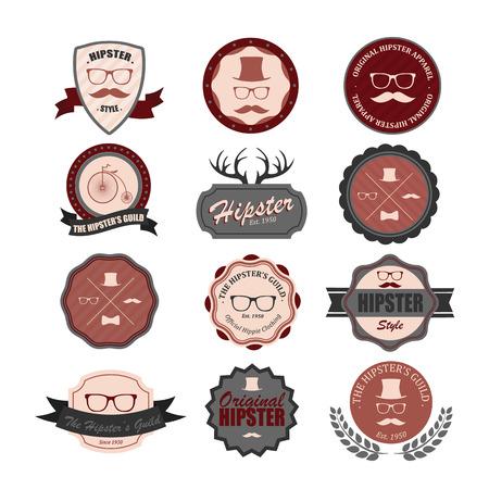old items: Hipster style badges set.  Illustration