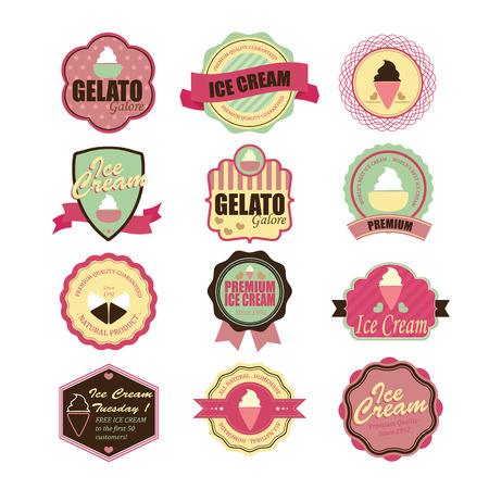 Set of vintage and modern ice cream shop badges and labels.