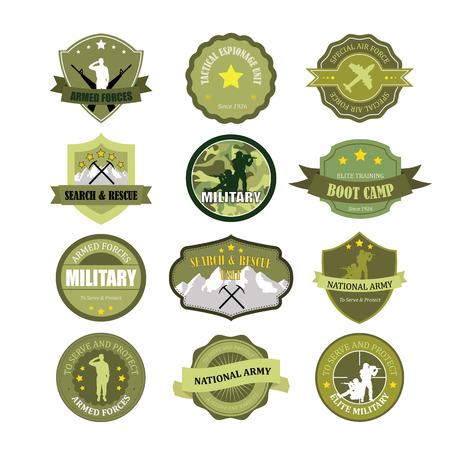 Set di militari e forze armate scudetti ed etichette Archivio Fotografico - 33068641