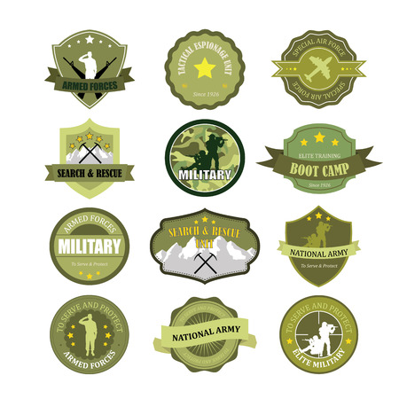 armed forces: Set of military and armed forces badges and labels