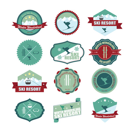 Set of ski mountain badges and patches