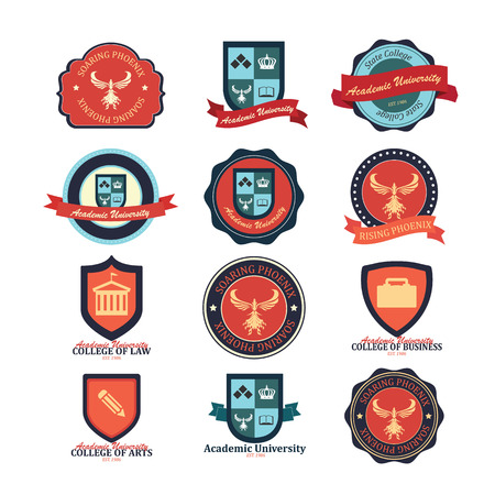 Set of university and college school and emblems Illustration
