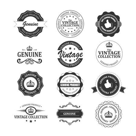 authenticity: Set of original and genuine badges.